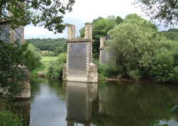 The remains of Dowles Bridge crossing the River Severn.