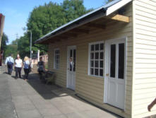 The new station building at Horsehay and Dawley Station. This is a replica of the one which was at Burwarton on the Ditton Priors Line.