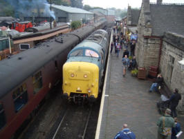 A visiting Deltic at Bridgnorth Station for the Diesel Gala